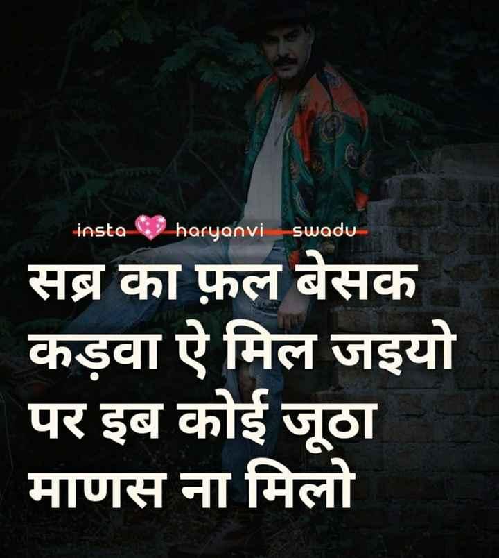 😎 अकडू स्टेटस - insta 4 2haryanvi swadu सब्र का फ़ल बेसक कड़वा ऐ मिल जइयो पर इब कोई जूठा माणस ना मिलो - ShareChat