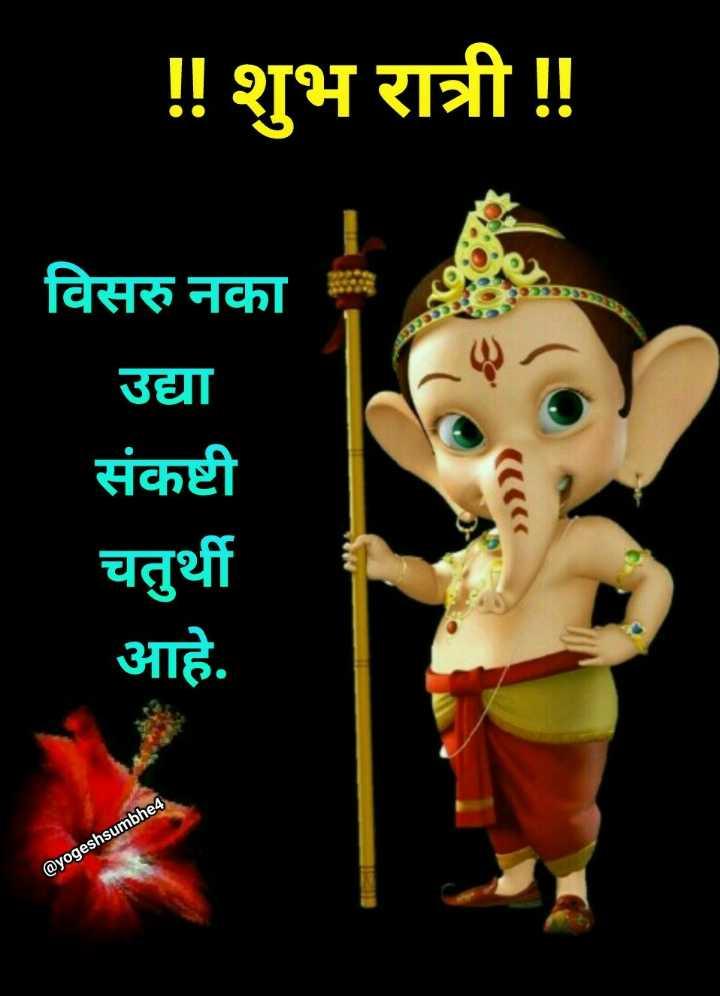 💐इतर शुभेच्छा - ! ! शुभ रात्री ! ! विसरु नका उद्या संकष्टी चतुर्थी आहे . @ yogeshsumbhe4 - ShareChat