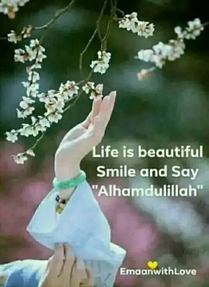 इमेज स्टेटस - Life is beautiful Smile and Say Alhamdulillah EmaanwithLove - ShareChat