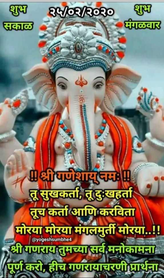 🌺गणपती - शुभ २५ / ०२ / २०२० शुभ सकाळ मंगळवार श्रीधाणेशायनमः तू सुखकर्ता , तू दुःखहर्ता । तूच कर्ता आणि करविता मोरया मोरया मंगलमुर्ती मोरया . . ! ! श्रीगणराय तुमच्या सर्व मनोकामना पूर्ण करो , हीच गणरायाचरणी प्रार्थना @ yogeshsumbhe4 - ShareChat