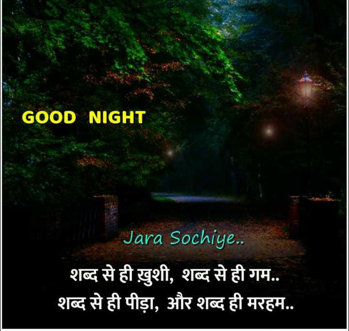🌙 गुड नाईट - GOOD NIGHT Jara Sochiye . . शब्द से ही ख़ुशी , शब्द से ही गम . . शब्द से ही पीड़ा , और शब्द ही मरहम . . - ShareChat