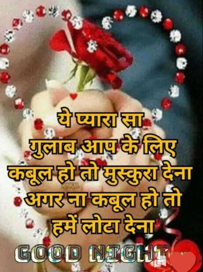 🌙 गुड नाईट - ये प्यारा सा । गुलाब आप के लिए कबूल हो तो मुस्कुरा देना अगर ना कबूल हो तो • हमें लोटा देना । GOOD NIGLIE - ShareChat