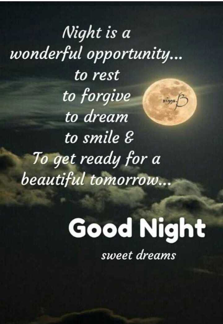 🌙 गुड नाईट - Night is a wonderful opportunity . . . to rest to forgive to dream to smile & To get ready for a beautiful tomorrow . . . Good Night sweet dreams - ShareChat