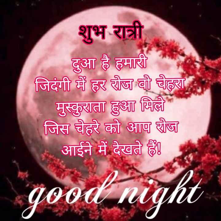 🌙 गुड नाईट - शुभ रात्री दुआ है हमारी जिदंगी में हर रोज वी चेहरा मुस्कुराता हुआ मिले जिस चेहरे को आप रोज आईने में देखते हैं । good night - ShareChat