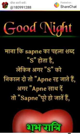 🌙 गुड नाईट - पोस्ट करने वाले : @ 180991288 Posted on : ShareChat Good Night माना कि sapne का पहला शब्द s होता है , लेकिन अगर s को निकाल दो तो Apne रह जाते हैं , अगर Apne साथ दें तो Sapne पूरे हो जातें हैं शभरात्रि - ShareChat