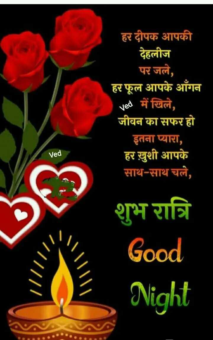 🌙 गुड नाईट - हर दीपक आपकी देहलीज पर जले , हर फूल आपके आँगन Ved में खिले , जीवन का सफर हो इतना प्यारा , हर ख़ुशी आपके साथ - साथ चले , Ved शुभ रात्रि Good Night - ShareChat
