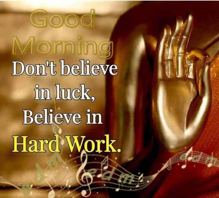 गुड मॉर्निंग शायरी - Good Morning Don ' t believe in luck , Believe in Hard Work . - ShareChat