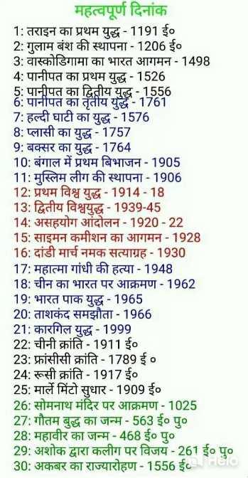 🔐 ग्रुप: 🏅जनरल नॉलेज 🏆 - महत्वपूर्ण दिनांक 1 : तराइन का प्रथम युद्ध - 1191 ई० 2 : गुलाम बंश की स्थापना - 1206 ई० 3 : वास्कोडिगामा का भारत आगमन - 1498 4 : पानीपत का प्रथम युद्ध - 1526 5 : पानीपत का द्वितीय युद्ध - 1556 6 : पानीपत का तृतीय युद्ध - 1761 7 : हल्दी घाटी का युद्ध - 1576 8 : प्लासी का युद्ध - 1757 9 : बक्सर का युद्ध - 1764 10 : बंगाल में प्रथम बिभाजन - 1905 11 : मुस्लिम लीग की स्थापना - 1906 12 : प्रथम विश्व युद्ध - 1914 - 18 13 : द्वितीय विश्वयुद्ध - 1939 - 45 14 : असहयोग आंदोलन - 1920 - 22 15 : साइमन कमीशन का आगमन - 1928 16 : दांडी मार्च नमक सत्याग्रह - 1930 17 : महात्मा गांधी की हत्या - 1948 18 : चीन का भारत पर आक्रमण - 1962 19 : भारत पाक युद्ध - 1965 20 : ताशकंद समझौता - 1966 21 : कारगिल युद्ध - 1999 22 : चीनी क्रांति - 1911 ई० 23 : फ्रांसीसी क्रांति - 1789 ई० 24 : रूसी क्रांति - 1917 ई० 25 : मार्ले मिंटो सुधार - 1909 ई० 26 : सोमनाथ मंदिर पर आक्रमण - 1025 27 : गौतम बुद्ध का जन्म - 563 ई० पु० 28 : महावीर का जन्म - 468 ई० पु० 29 : अशोक द्वारा कलीग पर विजय - 261 ई० पु० 30 : अकबर का राज्यारोहण - 1556 ई० - ShareChat
