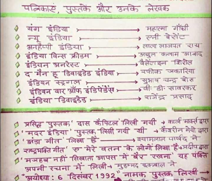 📝जॉब/एग्जाम प्रिपरेशन - पत्रिकाएं पुस्तकें और उनके लेखक - - - - - - यंग इंडिया - . न्यू इंडिया - 4 अनहैप्पी इंडिया इंडिया विन्स फ्रीडम . इंडियन अनरेस्ट - - - → महात्मा गाँधी → एनी बेसेंट लाला लाजपत राय अबुल कलाम आजाद वैलेंटाइन शिरोल रफीक जकारिया →सुभाष चन्द्र बोस - वी . डी . सावरकर → राजेंद्र प्रसाद इंडियन स्ट्रगल . इंडियन वार ऑफ इंडिपेडेस . इंडिया डिवाइडेड । प्रसिद्ध पुस्तक ' दास कैपिटल ' लिखी गयी - कार्ल मार्क्स द्वारा ' मदर इंडिया ' पुस्तक लिखी गयी थी + कैथरीन मेयो द्वारा ' झंडा गीत ' लिखा है →श्यामलाल पार्षद ने राष्ट्रभक्ति गीत ' ए मेरे वतन के लोगों लिखा है - प्रदीपद्धारा ' मजहब नहीं सिखाता आपस में बैर रखना ' यह पंक्ति अपनी रचना में लिखी - मुहम्मद इकबाल ने * अयोध्या : 6 दिसंबर 1992 नामक पुस्तक लिखी TS - ShareChat