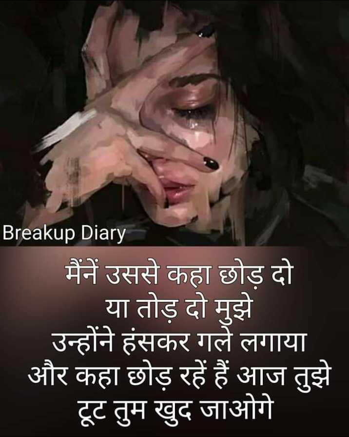 💔 दर्द-ए-दिल - Breakup Diary _ _ मैंने उससे कहा छोड दो । या तोड़ दो मुझे उन्होंने हंसकर गले लगाया और कहा छोड़ रहे हैं आज तुझे टूट तुम खुद जाओगे - ShareChat