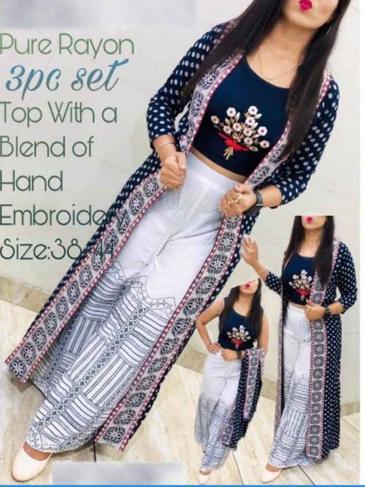 🥻 पार्टी ड्रेस🤵 - Pure Rayon 3pc set Top With a Blend of Hand Embroidery Size : 30 * 14 2000000 - ShareChat