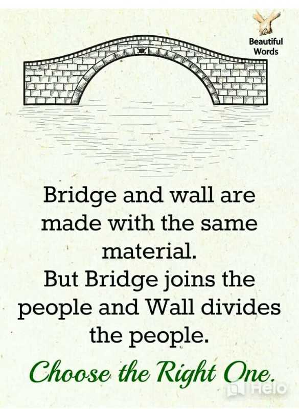 🙏प्रेरणादायक / सुविचार - Beautiful Words Bridge and wall are made with the same material . But Bridge joins the · people and Wall divides the people . Choose the Right One . - ShareChat