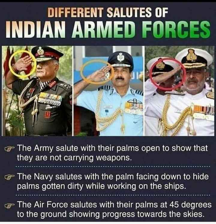 👌 मज़ेदार तथ्य - DIFFERENT SALUTES OF INDIAN ARMED FORCES & The Army salute with their palms open to show that they are not carrying weapons . The Navy salutes with the palm facing down to hide palms gotten dirty while working on the ships . e The Air Force salutes with their palms at 45 degrees to the ground showing progress towards the skies . - ShareChat