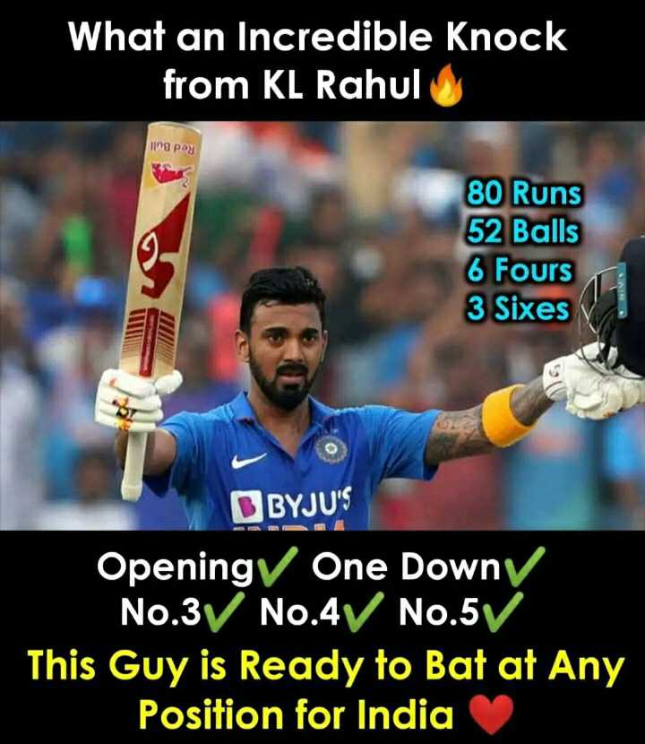 😁 मजेदार खेल - What an Incredible Knock from KL Rahul na pag 80 Runs 52 Balls 6 Fours 3 Sixes NIIN BYJU ' S Openingy One Downy No . 3 No . 4 No . 5V This Guy is Ready to Bat at Any Position for India - ShareChat