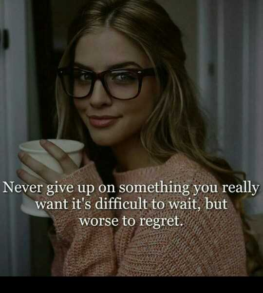 मेरे विचार - Never give up on something you really want it ' s difficult to wait , but worse to regret . - ShareChat