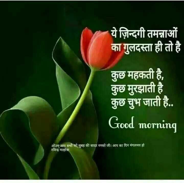 राजस्थानी स्टेटस - ये ज़िन्दगी तमन्नाओं का गुलदस्ता ही तो है । कुछ महकती है , कुछ मुरझाती है । कुछ चुभ जाती है . . Good morning ओउम् आप सभी को सुबह की सादर नमस्ते जी । आप का दिन मंगलमय हो । रविन्द्र मल्होत्रा - ShareChat