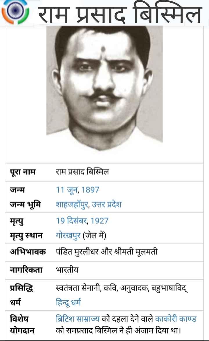 🌺 राम प्रसाद बिस्मिल जयंती - @ राम प्रसाद बिस्मिल | पूरा नाम राम प्रसाद बिस्मिल जन्म 11 जून , 1897 जन्म भूमि शाहजहाँपुर , उत्तर प्रदेश मृत्यु 19 दिसंबर , 1927 मृत्यु स्थान गोरखपुर ( जेल में ) अभिभावक पंडित मुरलीधर और श्रीमती मूलमती नागरिकता भारतीय प्रसिद्धि धर्म विशेष योगदान स्वतंत्रता सेनानी , कवि , अनुवादक , बहुभाषाविद् हिन्दू धर्म ब्रिटिश साम्राज्य को दहला देने वाले काकोरी काण्ड को रामप्रसाद बिस्मिल ने ही अंजाम दिया था । - ShareChat