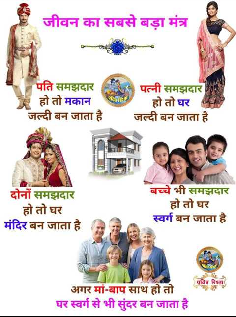 🤝रिश्ते - जीवन का सबसे बड़ा मंत्र पति समझदार हो तो मकान जल्दी बन जाता है Naat पत्नी समझदार हो तो घर जल्दी बन जाता है दोनों समझदार _ _ हो तो घर मंदिर बन जाता है बच्चे भी समझदार हो तो घर स्वर्ग बन जाता है 9 . पवित्र रिश्ता अगर मां - बाप साथ हो तो घर स्वर्ग से भी सुंदर बन जाता है - ShareChat