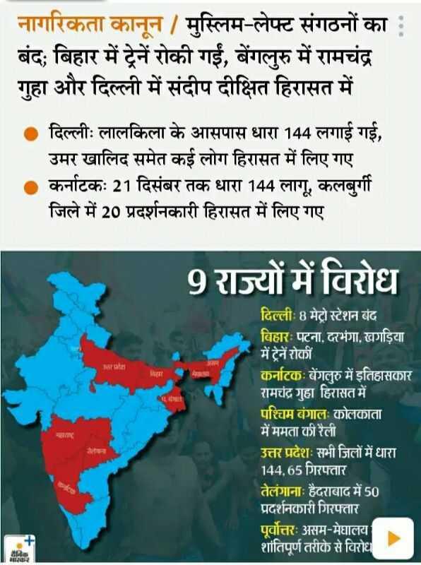 🔥🔥लाल किले पर प्रदर्शन - नागरिकता कानून / मुस्लिम - लेफ्ट संगठनों का : बंद ; बिहार में ट्रेनें रोकी गईं , बेंगलुरु में रामचंद्र गुहा और दिल्ली में संदीप दीक्षित हिरासत में दिल्लीः लालकिला के आसपास धारा 144 लगाई गई , उमर खालिद समेत कई लोग हिरासत में लिए गए कर्नाटकः 21 दिसंबर तक धारा 144 लागू , कलबुर्गी जिले में 20 प्रदर्शनकारी हिरासत में लिए गए 9 राज्यों में विरोध ALदेशन दिल्लीः 8 मेट्रो स्टेशन बंद बिहारः पटना . दरभंगा , खगड़िया में ट्रेनें रोकी कर्नाटकः बेंगलुरु में इतिहासकार रामचंद्र गुहा हिरासत में पश्चिम बंगालः कोलकाता में ममता की रैली उत्तर प्रदेशः सभी जिलों में धारा 144 , 65 गिरफ्तार तेलंगानाः हैदराबाद में 50 प्रदर्शनकारी गिरफ्तार पूर्वोत्तरः असम - मेघालय शांतिपूर्ण तरीके से विरोध निक भास्कर - ShareChat