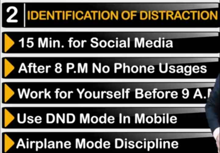 👉 लोगों के लिए सीख👈 - 12 IDENTIFICATION OF DISTRACTION II 15 Min . for Social Media 1 After 8 P . M No Phone Usages I Work for Yourself Before 9 A . / I Use DND Mode In Mobile | Airplane Mode Discipline - ShareChat