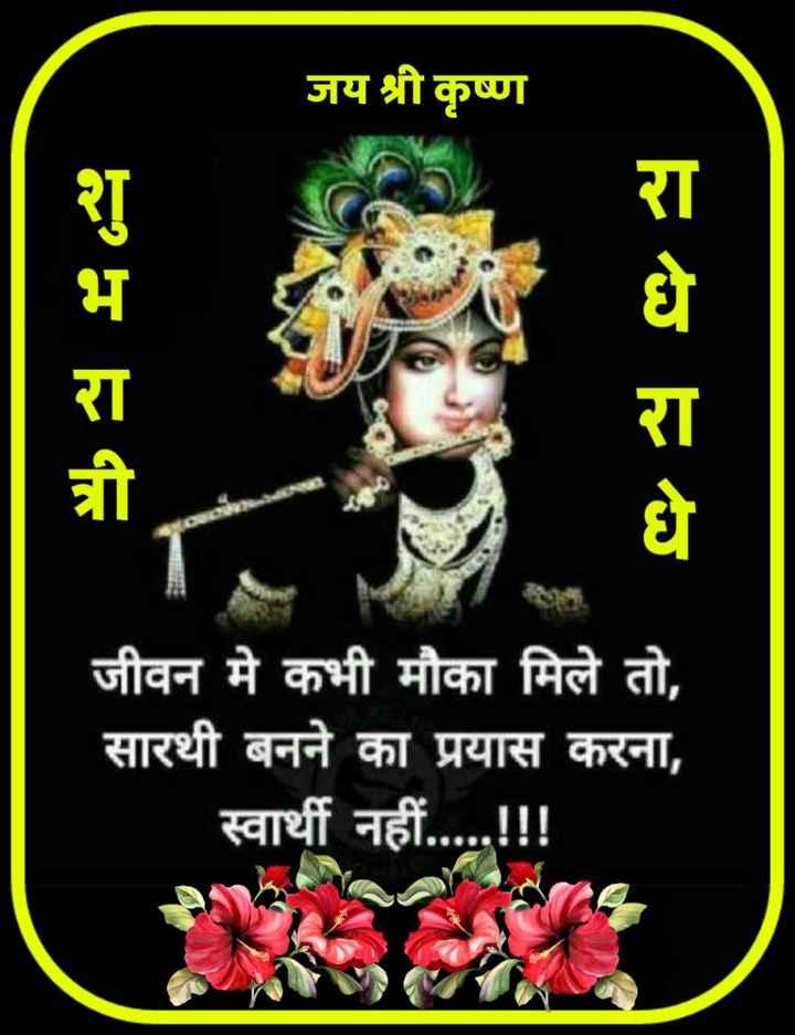😴शुभ रात्री😴 - जय श्री कृष्ण H444 vo va जीवन मे कभी मौका मिले तो , सारथी बनने का प्रयास करना , स्वार्थी नहीं . . . . . ! ! ! - ShareChat
