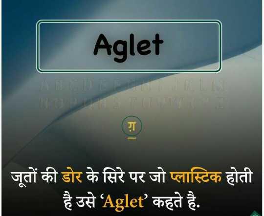 💡 शेयरचैट सामान्य ज्ञान - Aglet ABCDELN NOBS TUVWXZ जूतों की डोर के सिरे पर जो प्लास्टिक होती है उसे ' Aglet ' कहते है . - ShareChat