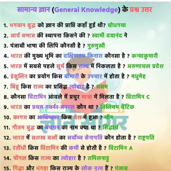 💡 शेयरचैट सामान्य ज्ञान - सामान्य ज्ञान ( General Knowledge ) के प्रश्न उत्तर 1 . भगवान बुद्ध को ज्ञान की प्राप्ति कहाँ हुई थी ? बोधगया 2 . आर्य समाज की स्थापना किसने की ? स्वामी दयानंद ने 3 . पंजाबी भाषा की लिपि कौनसी है ? गुरुमुखी 4 . भारत की मुख्य भूमि का दक्षिणतम किनारा कौनसा है ? कन्याकुमारी 5 . भारत में सबसे पहले सूर्य किस राज्य में निकलता है ? अरुणाचल प्रदेश 6 . इंसुलिन का प्रयोग किस बीमारी के उपचार में होता है ? मधुमेह 7 . बिहू किस राज्य का प्रसिद्ध त्योहार है ? असम 8 . कौनसा विटामिन आंवले में प्रचुर मात्रा में मिलता है ? विटामिन c 9 . भारत का प्रथम गवर्नर जनरल कौन था ? विलियम बैंटिक 10 . कागज का आविष्कार किस देश में हुआ ? चीन 11 . गौतम बुद्ध का बचपन का नाम क्या था ? सिद्धार्थ । 12 . भारत में सशस्त्र बलों का सर्वोच्च सेनापति कौन होता है ? राष्ट्रपति | 13 . रतौंधी किस विटामिन की कमी से होती है ? विटामिन A 14 . पोंगल किस राज्य का त्योहार है ? तमिलनाडु | 15 . गिद्धा और भंगड़ा किस राज्य के लोक नृत्य हैं ? पंजाब - ShareChat