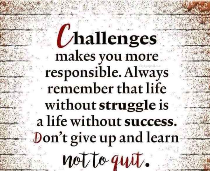 🖋 शेयरचैट Quotes - Aspesi Challenges makes you more responsible . Always remember that life without struggle is a life without success . Don ' t give up and learn notto quit . - ShareChat