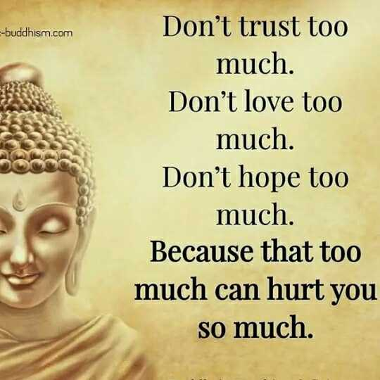 🖋 शेयरचैट Quotes - - - buddhism . com Don ' t trust too much . Don ' t love too much . Don ' t hope too much . Because that too much can hurt you so much . - ShareChat