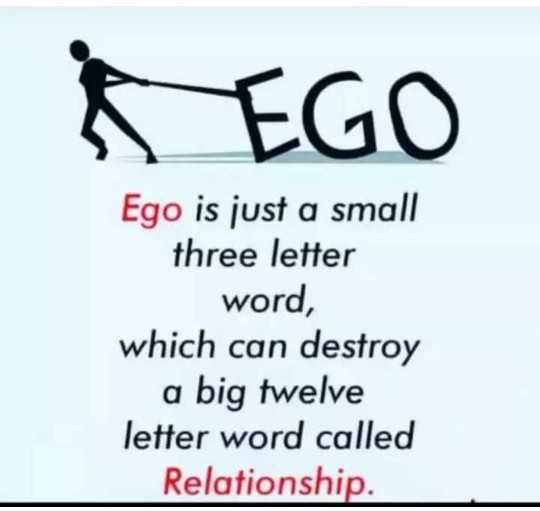 🖋 शेयरचैट Quotes - EGO Ego is just a small three letter word , which can destroy a big twelve letter word called Relationship . - ShareChat