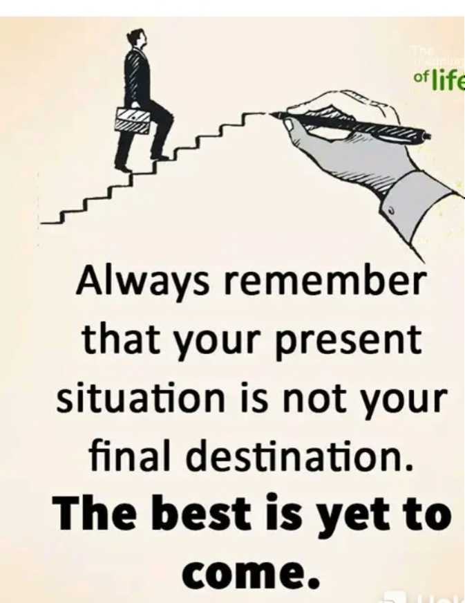 🖋 शेयरचैट Quotes - of life Always remember that your present situation is not your final destination . The best is yet to come . - ShareChat