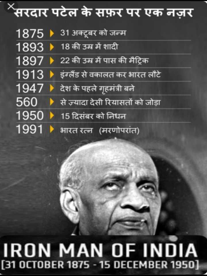 🙏सरदार पटेल पुण्यतिथि - सरदार पटेल के सफ़र पर एक नज़र 1875 ) 31 अक्टूबर को जन्म 1893 18 की उम्र में शादी 1897 22 की उम्र में पास की मैट्रिक । 1913 ) इंग्लैंड से वकालत कर भारत लौटे 1947 ) देश के पहले गृहमंत्री बने 560 से ज़्यादा देसी रियासतों को जोड़ा 1950 ) 15 दिसंबर को निधन 1991 ) भारत रत्न ( मरणोपरांत ) IRON MAN OF INDIA [ 310CTOBER 1875 - 15 DECEMBER 1950 ] - ShareChat