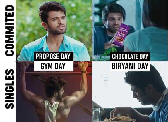 🤵सिंगल्स vs कपल्स👩👨 - SINGLES COMMITED PROPOSE DAY GYM DAY CHOCOLATE DAY BIRYANI DAY - ShareChat