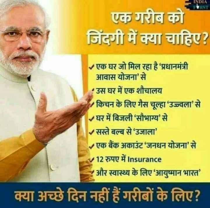 🌞सुप्रभात🌞 - INDIA FIRST एक गरीब को जिंदगी में क्या चाहिए ? एक घर जो मिल रहा है प्रधानमंत्री आवास योजना ' से उस घर में एक शौचालय किचन के लिए गैस चूल्हा ' उज्ज्वला ' से घर में बिजली ' सौभाग्य ' से सस्ते बल्ब से ' उजाला ' - एक बैंक अकाउंट ' जनधन योजना ' से V12 रुपए में Insurance और स्वास्थ्य के लिए आयुष्मान भारत ' क्या अच्छे दिन नहीं हैं गरीबों के लिए ? - ShareChat