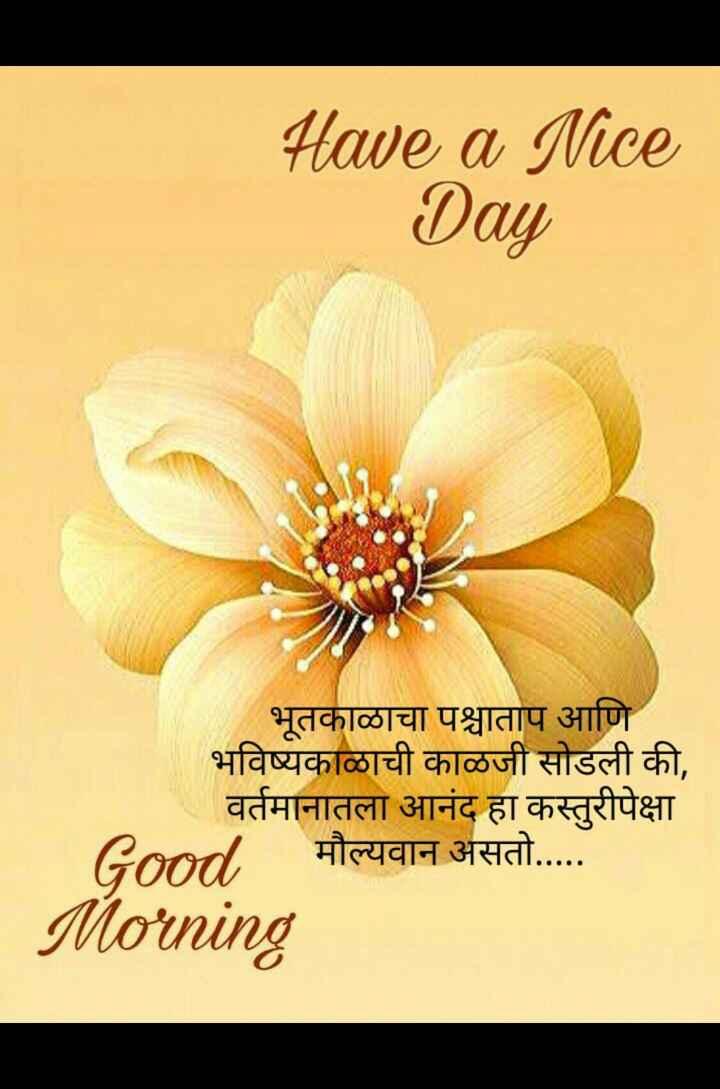 🌄सुप्रभात - Have a Nice Day भूतकाळाचा पश्चाताप आणि भविष्यकाळाची काळजी सोडली की , वर्तमानातला आनंद हा कस्तुरीपेक्षा Good , मौल्यवान असतो . . . . . Morning - ShareChat