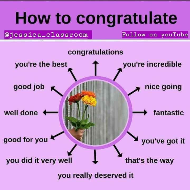 👩स्पोकन इंग्लिश टुटोरिअल - How to congratulate @ jessica - classroom Follow on youTube congratulations you ' re the best you ' re incredible good job nice going well done + - fantastic good for you you ' ve got it you did it very well that ' s the way you really deserved it - ShareChat