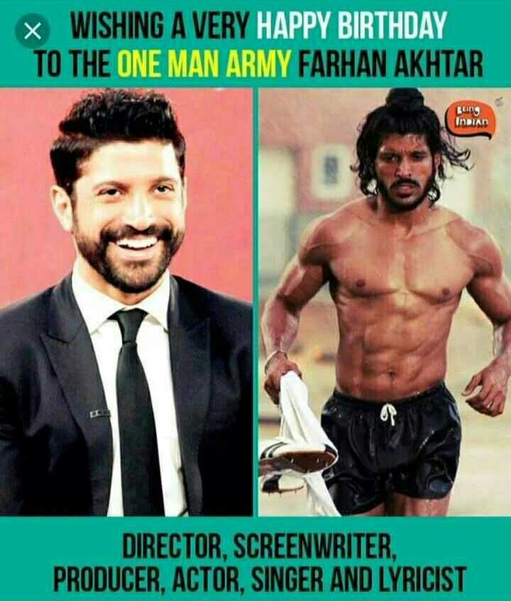 🎬हैप्पी बर्थडे फ़रहान अख़्तर🎂 - x WISHING A VERY HAPPY BIRTHDAY TO THE ONE MAN ARMY FARHAN AKHTAR Luin INDIAD DIRECTOR , SCREENWRITER , PRODUCER , ACTOR , SINGER AND LYRICIST - ShareChat