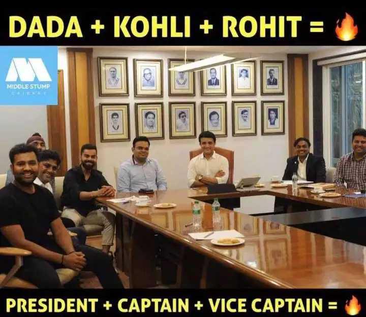 🏏 ক্রিকেট - DADA + KOHLI + ROHIT = MIDDLE STUMP PRESIDENT + CAPTAIN + VICE CAPTAIN = - ShareChat
