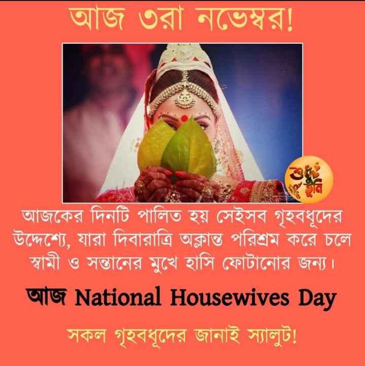 জাতীয় গৃহিনী দিবস - আজ ৩রা নভেম্বর ! আজকের দিনটি পালিত হয় সেইসব গৃহবধূদের । উদ্দেশ্যে , যারা দিবারাত্রি অক্লান্ত পরিশ্রম করে চলে স্বামী ও সন্তানের মুখে হাসি ফোটানাের জন্য । U19 National Housewives Day সকল গৃহবধূদের জানাই স্যালুট ! - ShareChat