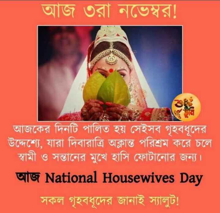জাতীয় গৃহিনী দিবস - আজ ৩রা নভেম্বর ! আজকের দিনটি পালিত হয় সেইসব গৃহবধূদের উদ্দেশ্যে , যারা দিবারাত্রি অক্লান্ত পরিশ্রম করে চলে স্বামী ও সন্তানের মুখে হাসি ফোটানাের জন্য । আজ National Housewives Day সকল গৃহবধূদের জানাই স্যালুট ! - ShareChat