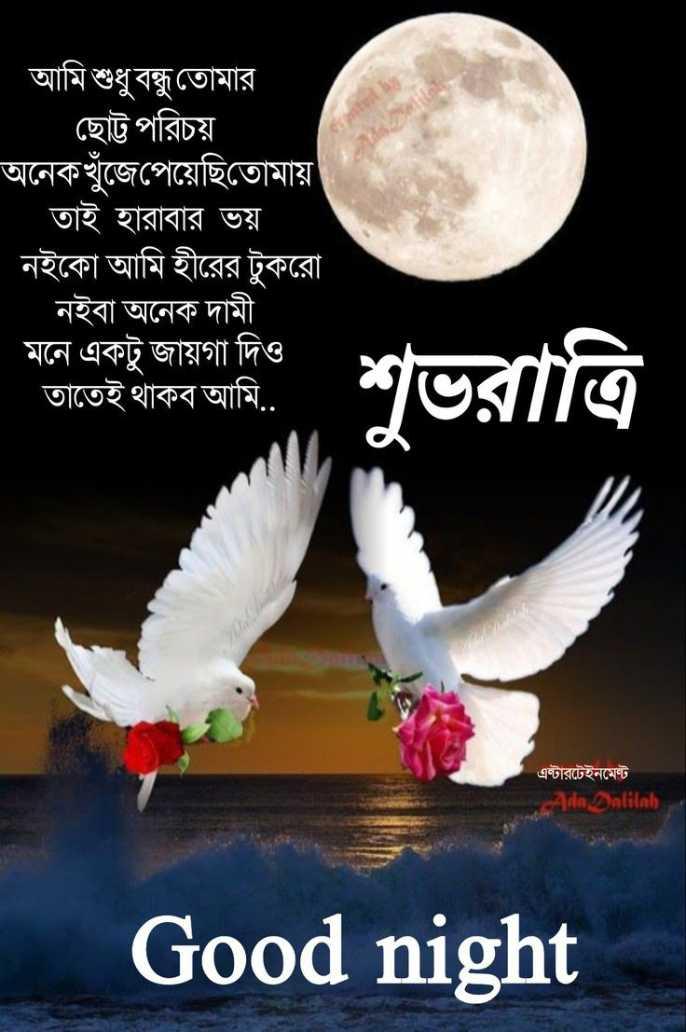 🙌শুভকামনা - আমি শুধুবন্ধু তােমার ছােট্ট পরিচয় । অনেকখুঁজেপেয়েছিতােমায় । তাই হারাবার ভয় নইকো আমি হীরের টুকরাে নইবা অনেক দামী মনে একটু জায়গা দিও তাতেই থাকব আমি . . শুভরাত্রি এন্টারটেইনমেন্ট Ada Dalilah Good night - ShareChat