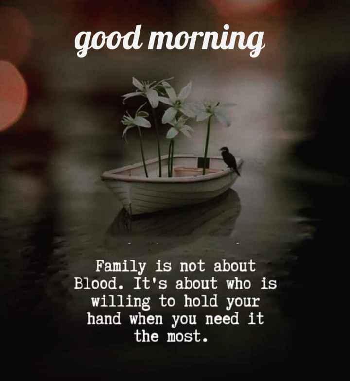 🌞সুপ্রভাত - good morning Family is not about Blood . It ' s about who is willing to hold your hand when you need it the most . - ShareChat
