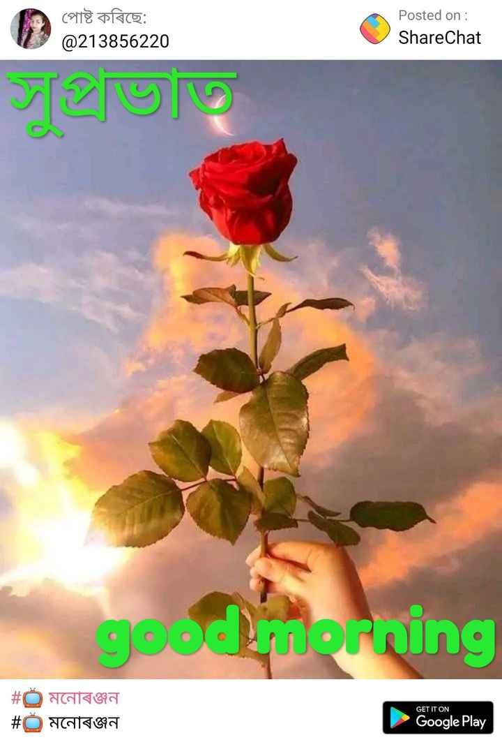 🌞 সুপ্ৰভাত - পােষ্ট কৰিছে : @ 213856220 Posted on : ShareChat good morning | # C মনােৰঞ্জন # মনােৰঞ্জন GET IT ON Google Play - ShareChat