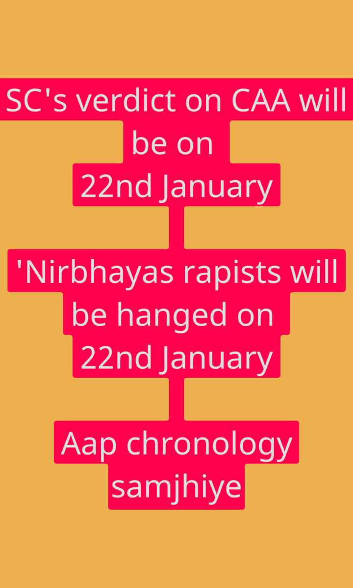🌈 ২০২০ৰ নতুন ভাৰত - SC ' s verdict on CAA will be on 22nd January ' Nirbhayas rapists will be hanged on 22nd January Aap chronology samjhiye - ShareChat