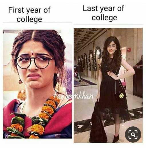 😜  ਕਲੋਲਾਂ - First year of college Last year of college enkhan - ShareChat
