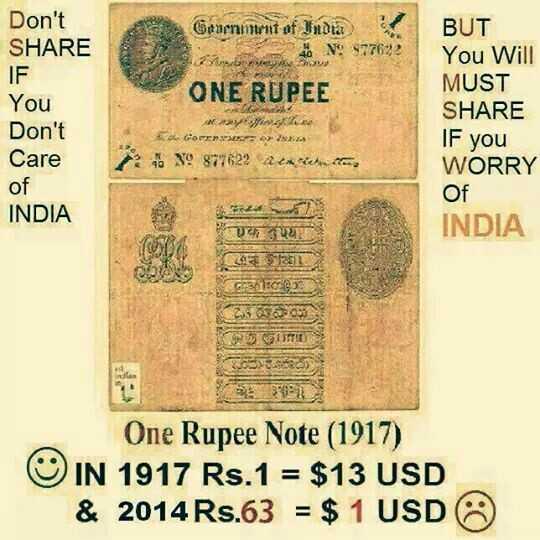 💲ਨੈਸ਼ਨਲ ਡਾਲਰ  ਡੇ - Don ' t SHARE IF Gerement of India N : 977622 12 ONE RUPEE vonat BUT You Will MUST SHARE IF you WORRY GOPERE You Don ' t Care of INDIA 182 4 . NO 877622 atmiche Of INDIA 20 WILS CONSTITI One Rupee Note ( 1917 ) ☺ IN 1917 Rs . 1 = $ 13 USD & 2014 Rs . 63 = $ 1 USD - ShareChat