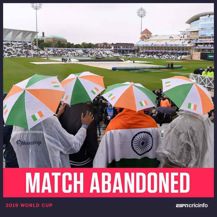 🏏 🇮🇳 ਭਾਰਤ vs ਨਿਊਜ਼ੀਲੈਂਡ 🇳🇿 - mom DAH орро OPPO NDIA Raintop MATCH ABANDONED 2019 WORLD CUP Esrncricinfo - ShareChat