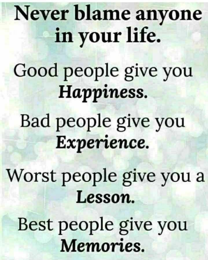 🔍 ਮਜ਼ੇਦਾਰ facts 🔖 - Never blame anyone in your life . Good people give you Happiness . Bad people give you Experience . Worst people give you a Lesson . Best people give you Memories . - ShareChat