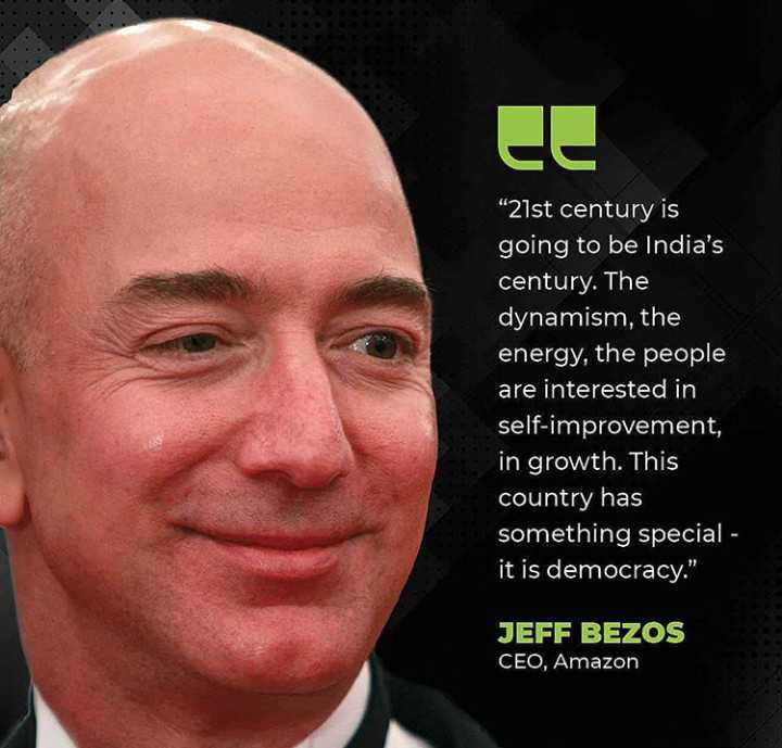 🔍 ਮਜ਼ੇਦਾਰ facts 🔖 - 21st century is going to be India ' s century . The dynamism , the energy , the people are interested in self - improvement , in growth . This country has something special - it is democracy . JEFF BEZOS CEO , Amazon - ShareChat
