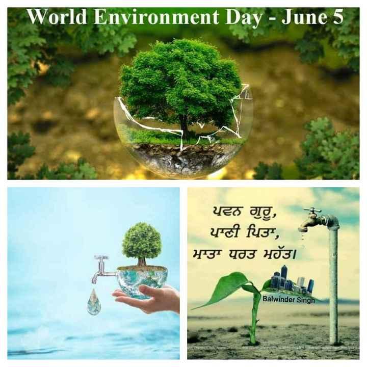 🌿  ਵਿਸ਼ਵ ਵਾਤਾਵਰਣ ਦਿਵਸ - World Environment Day - June 5 ਪਵਨ ਗੁਰੂ , ਪਾਣੀ ਪਿਤਾ , ਮਾਤਾ ਧਰਤ ਮਹੱਤ । Balwinder Singh - ShareChat
